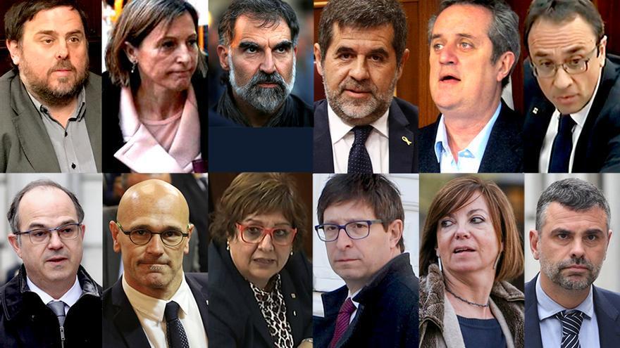 Montaje con los rostros de los líderes independentistas condenados por el Supremo