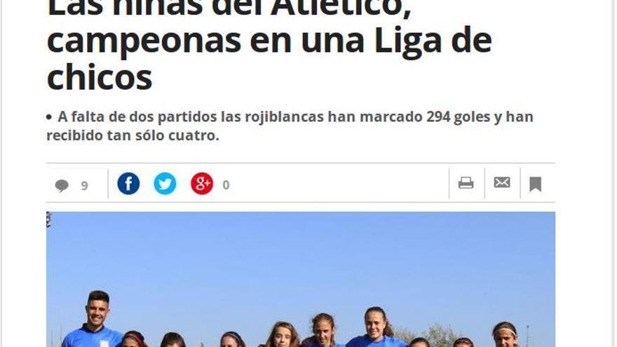 """En Mundo Deportivo: """"Las niñas del Atlético, campeonas en una Liga de chicos"""""""