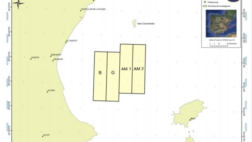 Mapa de localización de los permisos de investigación B, G, AM-1 y AM-2.