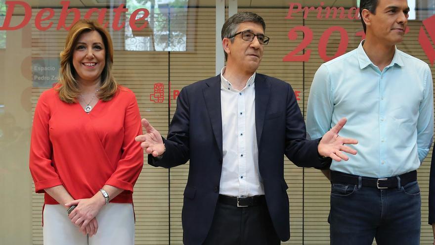 Susana Díaz, Patxi López y Pedro Sánchez, antes del debate de primarias del PSOE.