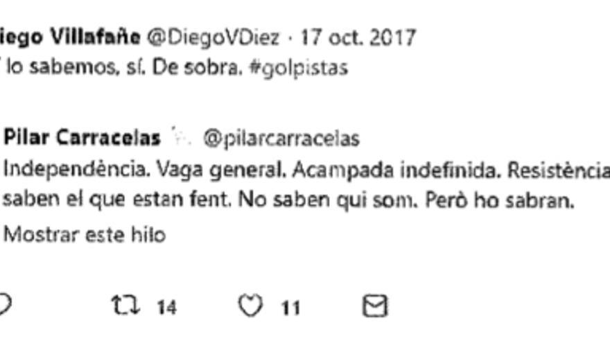 Captura de pantalla del tuit del fiscal incluida en los escritos de los heridos