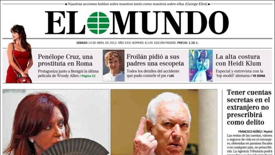 Portada de El Mundo, 14 de abril de 2012.