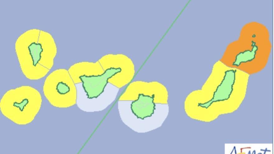 Mapa de la Aemet del aviso de riesgo por fenómenos costeros para este jueves, 18 de enero de 2018.