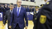 El secretario de Estado de Seguridad, Francisco Martínez, pasa revista  a la Policía