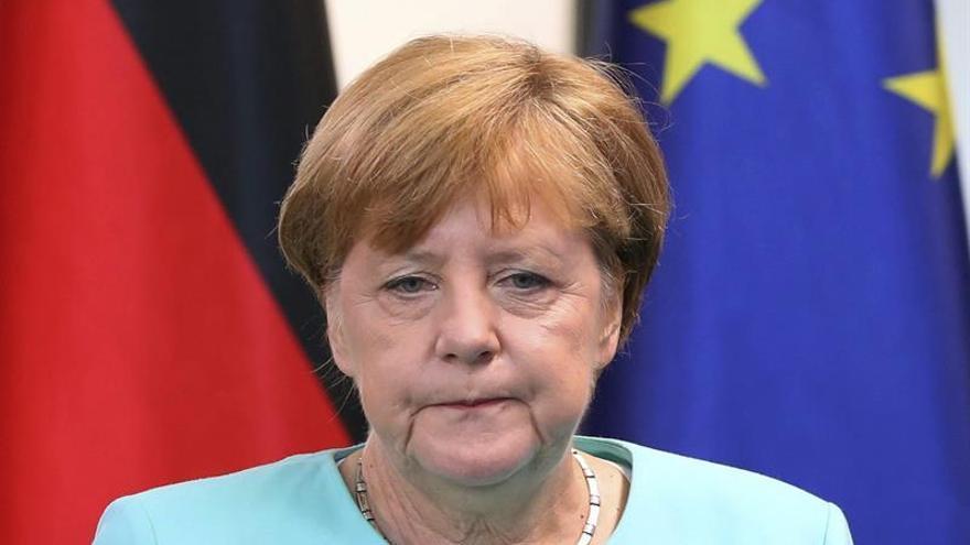 La canciller alemana, Angela Merkel, durante una rueda de prensa