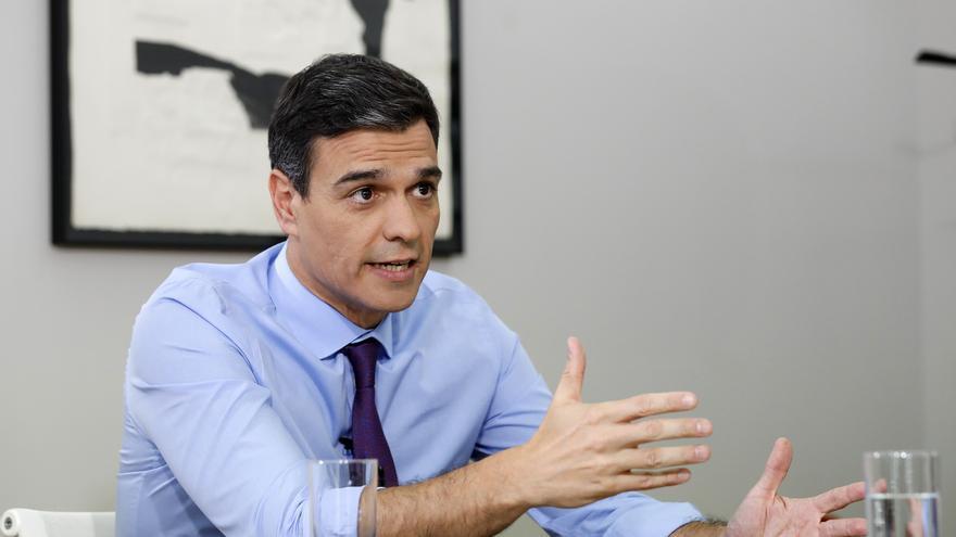 Pedro Sánchez durante su entrevista con eldiario.es en La Moncloa / Marta Jara