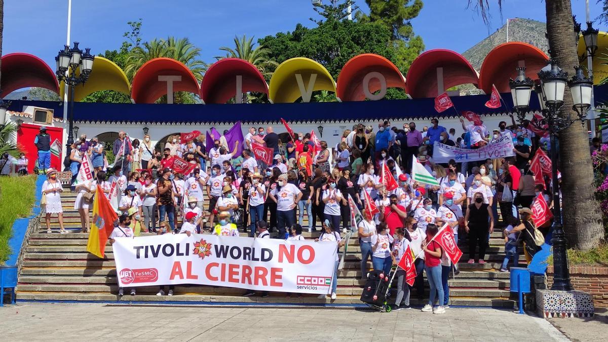 Trabajadores de Tívoli, en la protesta celebrada el pasado viernes