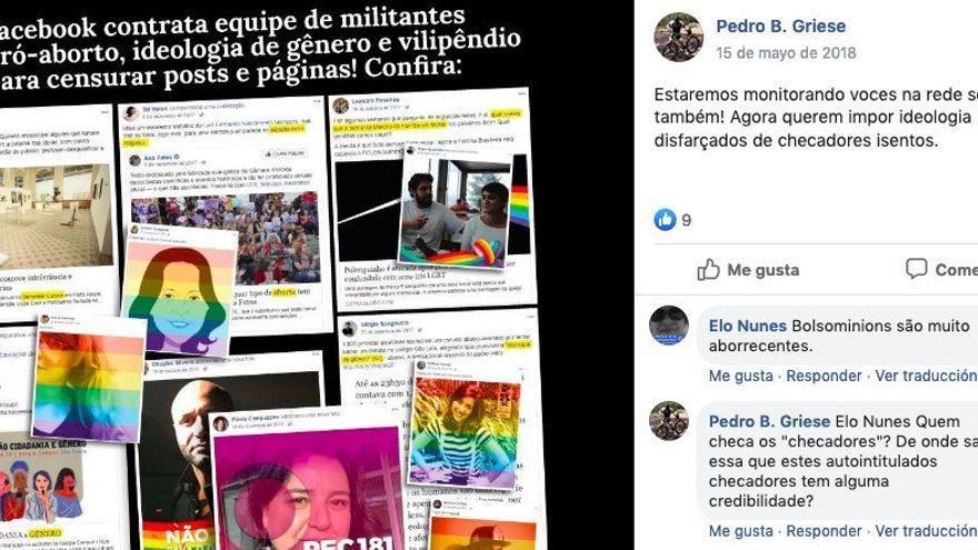 Propaganda distribuida por las comunidades afines al presidente brasileño Jair Bolsonaro con ataques personales contra los periodistas miembros de los medios de verificación brasileños.