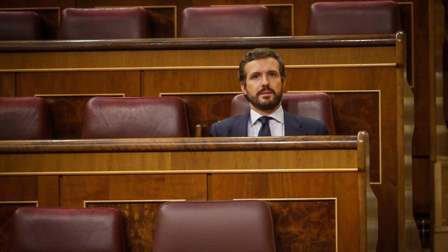 El presidente del PP, Pablo Casado, durante el Pleno del Congreso del miércoles.