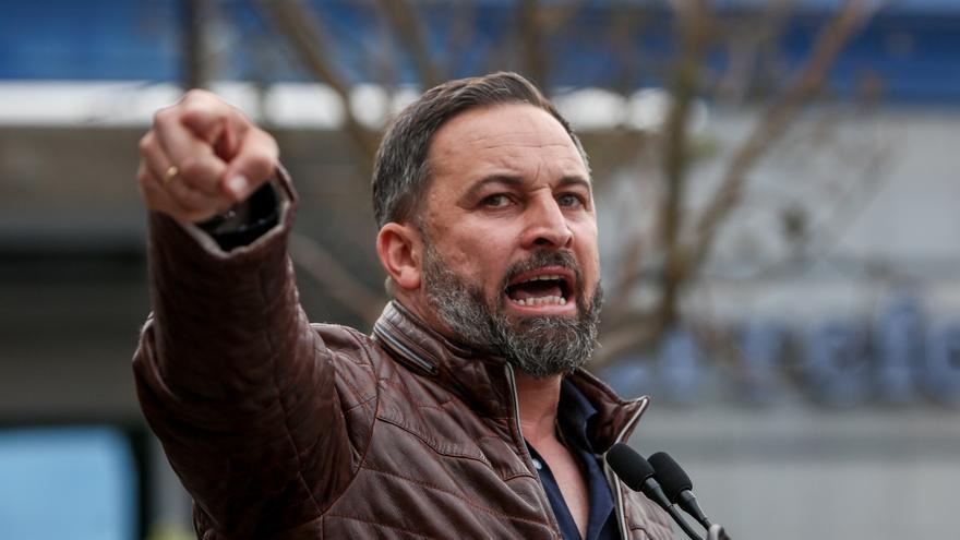 Santiago Abascal en el mitin de Fuenlabrada de la campaña.