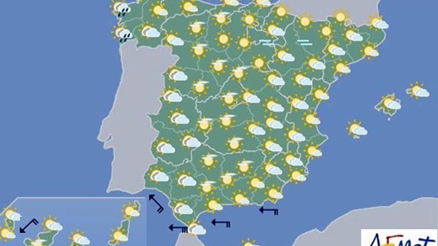 Hoy, temperaturas diurnas en descenso en Galicia e interior de península