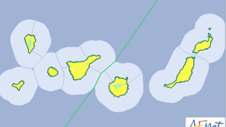 Mapa de la Aemet del aviso del riesgo por temperaturas máximas para  este sábado, 24 de agosto de 2019.