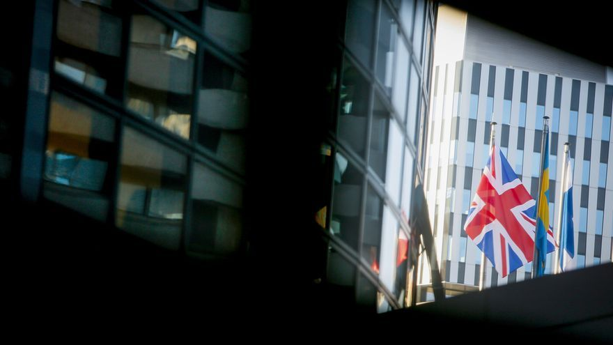 The Union Jack British flag waving outside the EP building in Strasbourg.