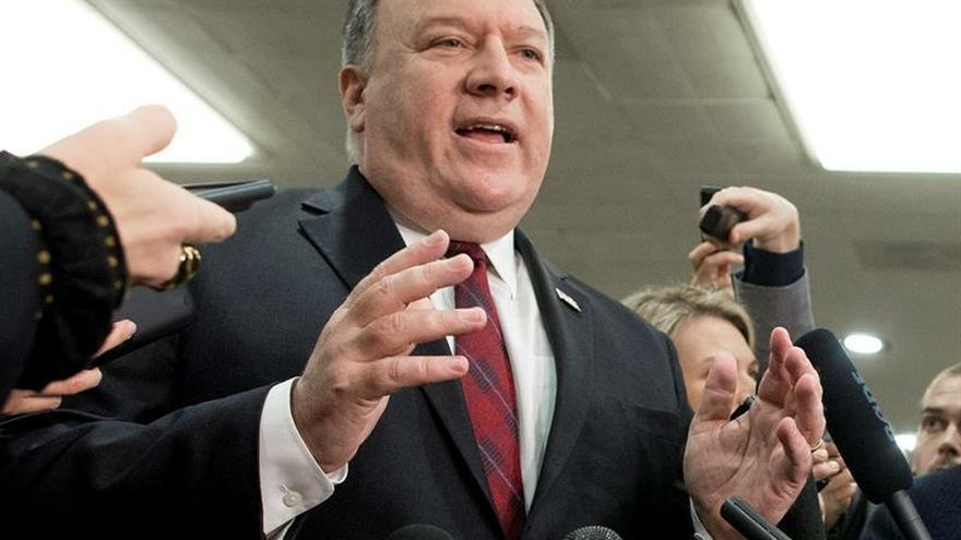 En la imagen un registro del secretario de Estado de EE.UU., Mike Pompeo, quien viajará la próxima semana a Reino Unido y Ucrania.