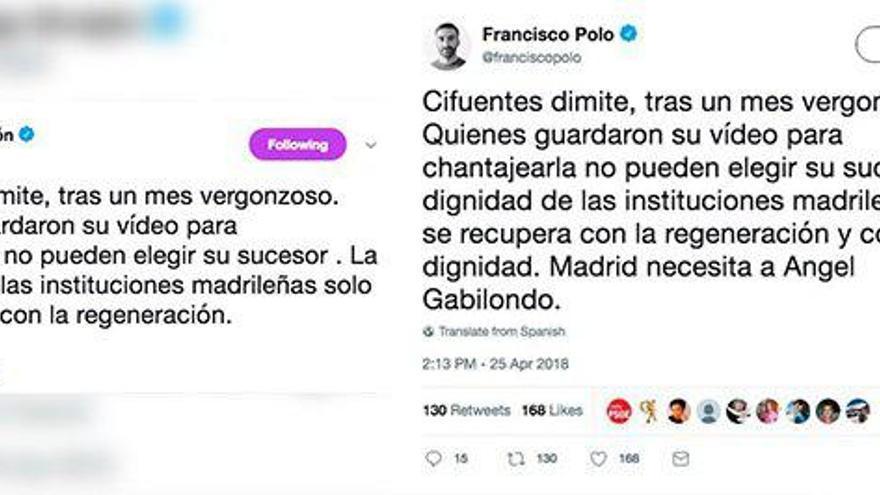 Los tuits de Polo y Errejón, unidos