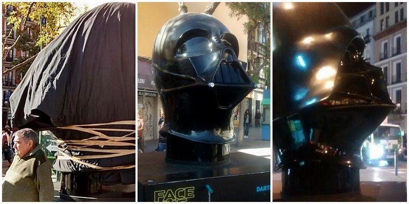 Las fases de la reparación de Darth Vader, de izquierda a derecha: primero envuelto, luego sin casco y con el restarado | SOMOS MALASAÑA