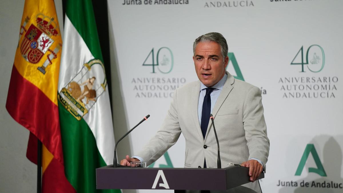 El consejero de la Presidencia, Administración Pública e Interior y portavoz del Gobierno andaluz, Elías Bendodo.