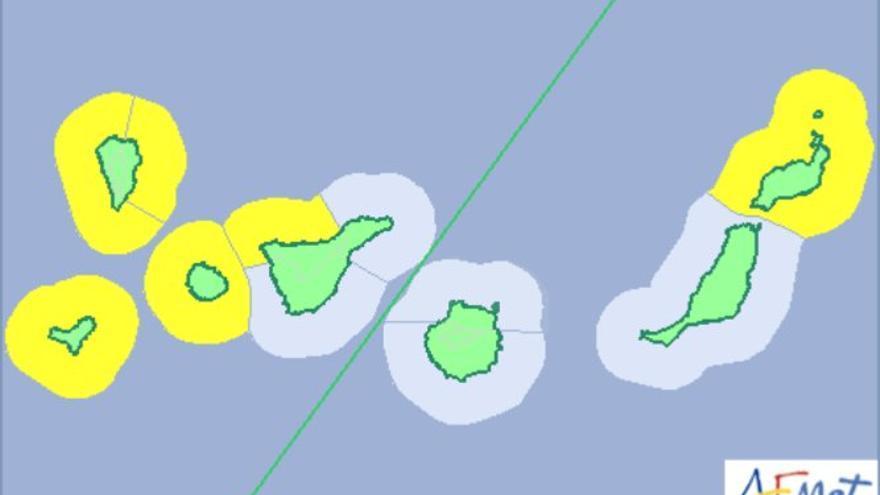 Aviso amarillo por oleaje en Canarias.