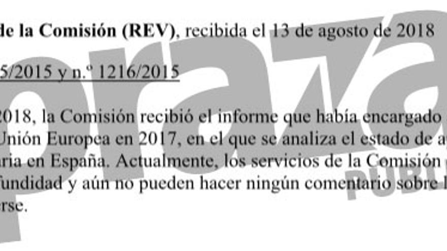 Respuesta de la Comisión Europea reconociendo que tiene en su poder desde julio el informe sobre el cumplimiento por España de la normativa ferroviaria europea