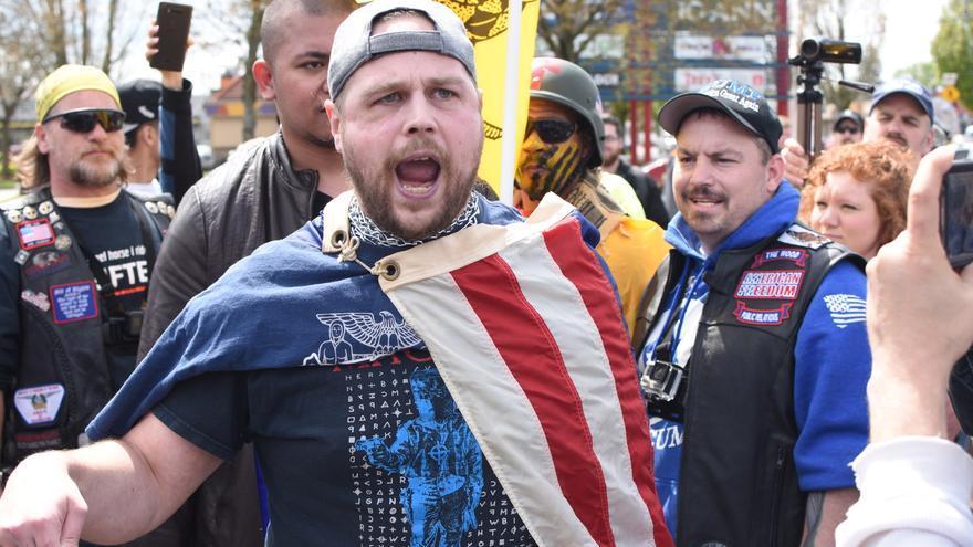 Jeremy Joseph Christian, de 35 años, durante una manifestación de la alt-right