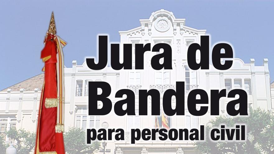 Cartel jura bandera civil en Huesca