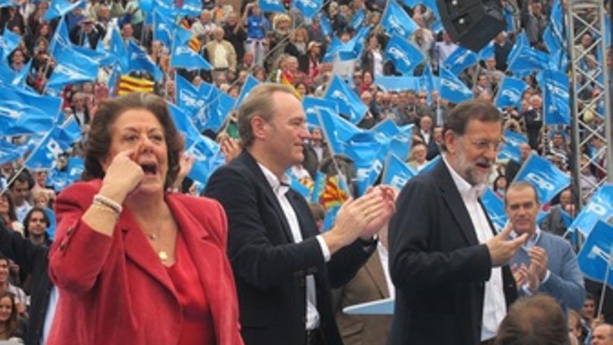 Rita Barberá, Alberto Fabra Y Mariano Rajoy En La Plaza De Toros De Valencia