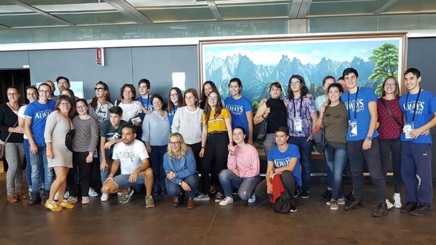 Llegada a La Palma del grupo de estudiantes.