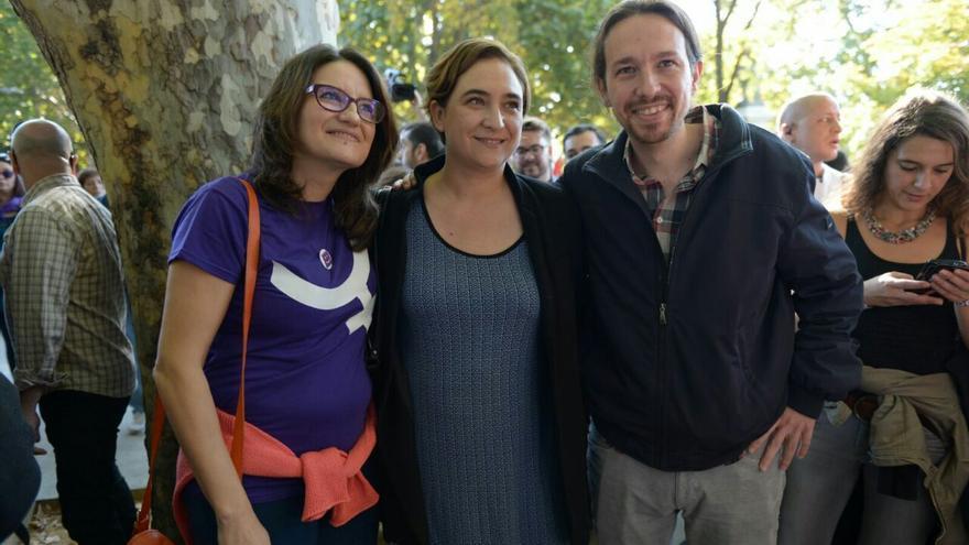 Mónica Oltra, Ada Colau y Pablo Iglesias. Foto: Podemos (Dani Gago)