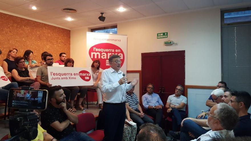 Ximo Puig en un acto de su candidatura a las primarias del PSPV, 'Esquerra en marxa'