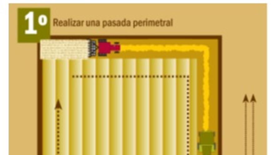 Gráfico de recomendaciones de cosecha mecánica del cereal por la ola de calor