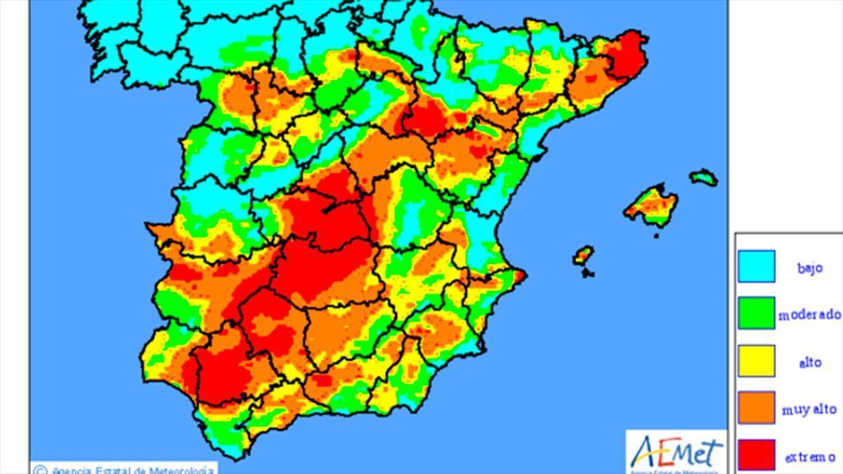 Mapa de riesgos de incendios de la Aemet este domingo 27 de junio.