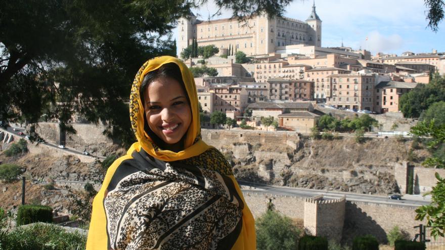 La periodista saharaui Ebbaba Hameida Hafed en Toledo. Francisca Bravo