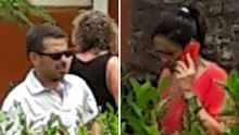 A la izquierda, Lucas Bravo de Laguna, este lunes, en el bungalow de Maspalomas donde estuvo con Noelia Pérez y desde el que realizó varias llamadas de teléfono en las que comentó con sus interlocutores todo lo relacionado con el Bravogate. A la derecha, Noelia Pérez, hablando por teléfono.
