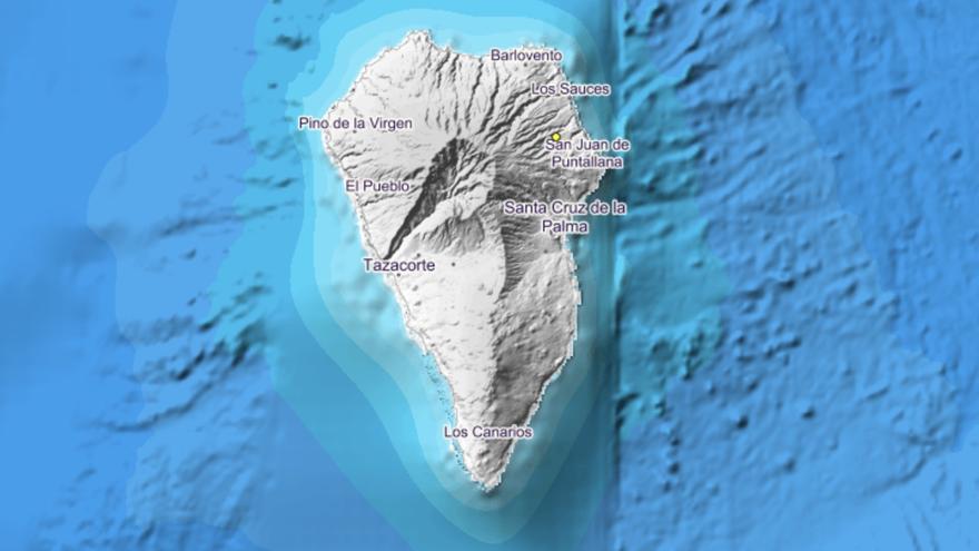 Imagen del IGN en la que se indica el punto donde se ha localizado el movimiento sísmico a las  23.59 horas de este jueves, 13 de septiembre de 2018.