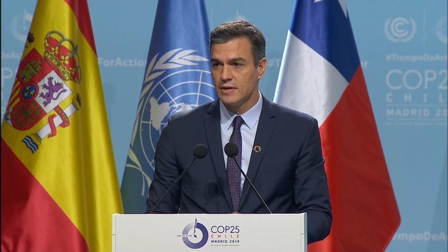 Pedro Sánchez durante la inauguración de la COP25.