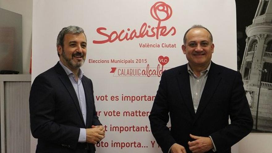 Jaume Collboni, portavoz de los socialistas en Barcelona, y Joan Calabuig, líder del PSPV-PSOE de Valencia