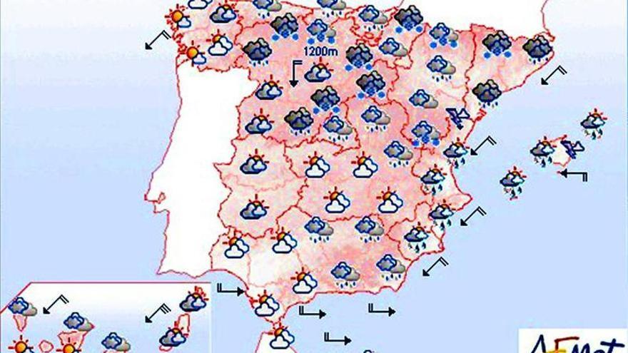 Mañana, lluvias fuertes en Cataluña, Aragón, Valencia, Baleares y Melilla