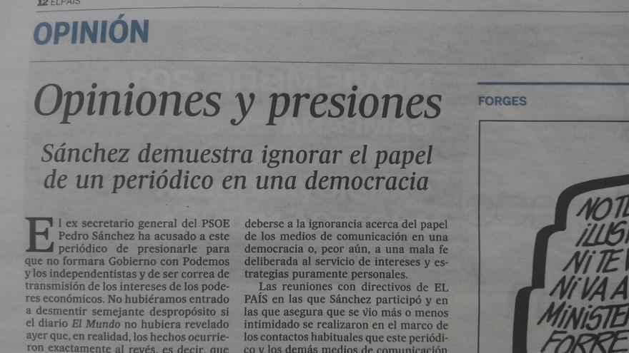 Editorial de El País del 2 de noviembre de 2016.