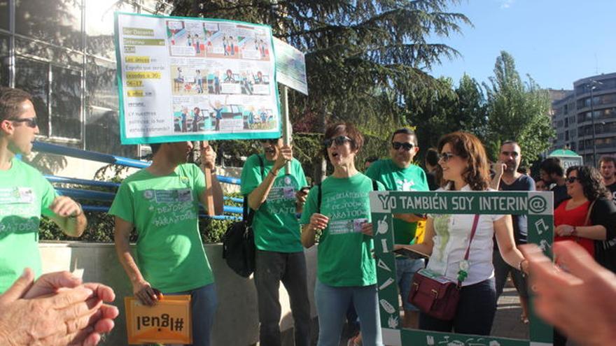 Imagen de una protesta de interinos del sector educativo