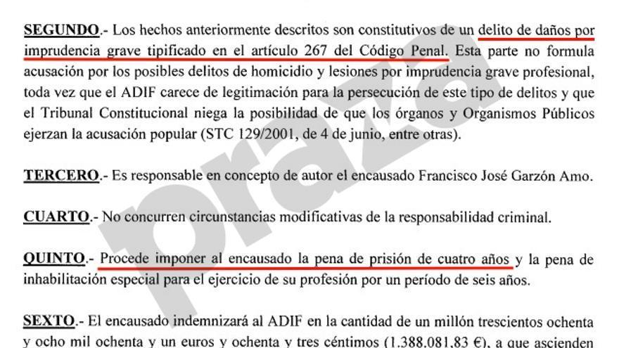 Escrito de acusación de Adif contra el maquinista del Alvia