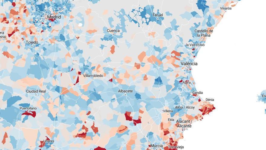 Mapa de riesgo de pobreza por municipios y distritos.