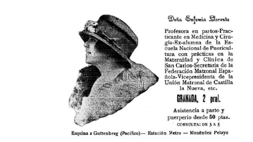 Anuncio de prestación de servicios profesionales de Eufemia Llorente de Domingo en 1928