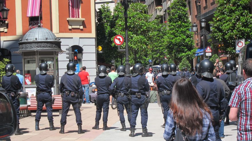 Varios antidisturbios de la Policía Nacional