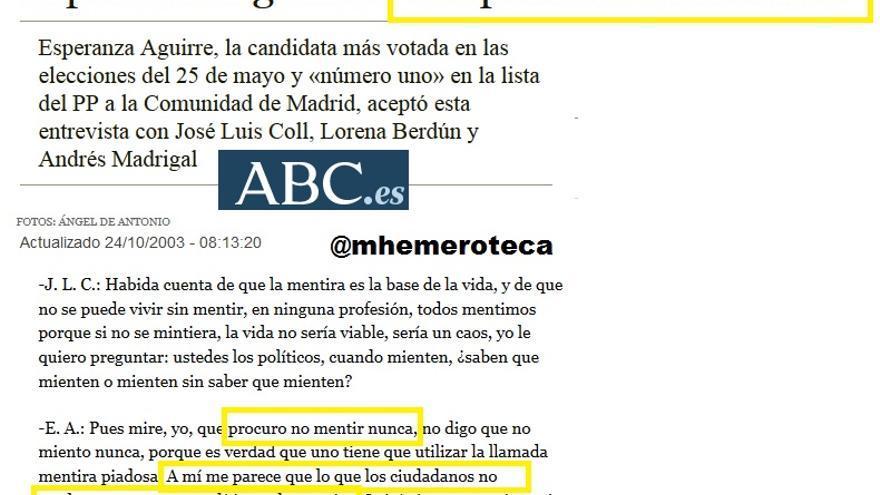 Hemeroteca Esperanza Aguirre miente
