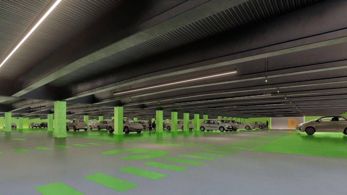 Recreación del proyecto de aparcamiento en la plaza del Carmen