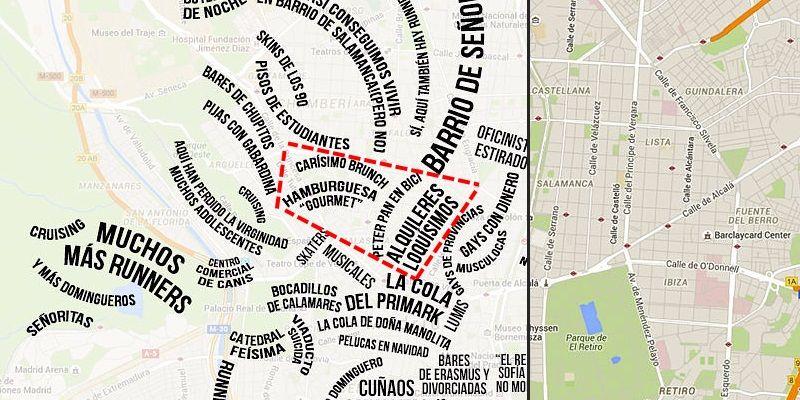 Mapa de los estereotipos de diferentes barrios de Madrid, con Malasaña marcado en rojo | BUZFFEED