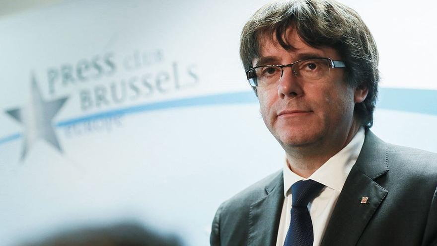 Carles Puigdemont en el Press Club Brussels (EFE).