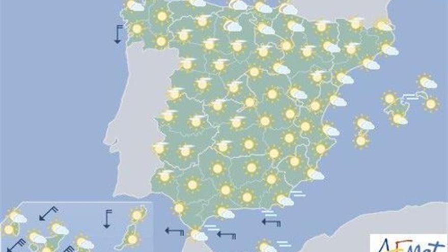 Hoy, temperaturas altas en valles de la mitad sur peninsular y en Canarias
