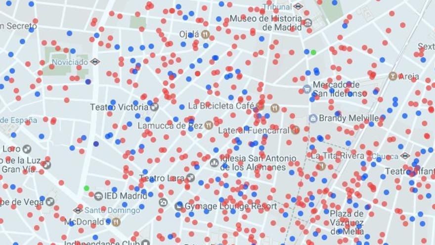 Pisos de Airbnb en Malasaña (en rojo, alquiler de vivienda completa) | AIRDNA