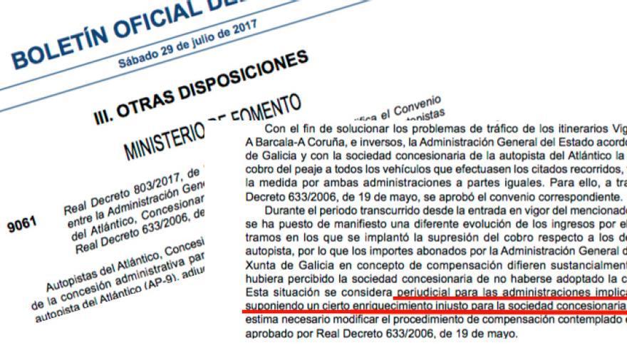 """Real Decreto aprobado por Fomento en 2017 y ahora invalidado por el Supremo en el que el ministerio reducía la compensación a Audasa acusándola de """"enriquecimiento injusto"""""""